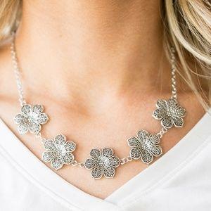 Silver Flower Necklace w/ Matching Earrings